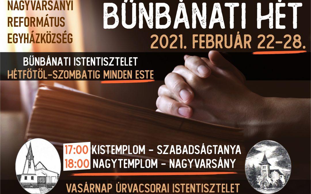 Bűnbánati hét – 2021. 02. 22-28.